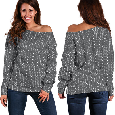 Pretty Grey Stars Women's Off-Shoulder Sweater