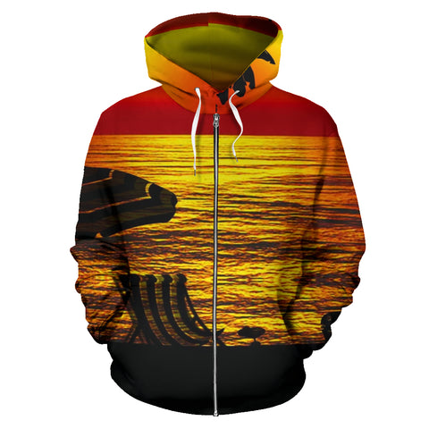 Custom-Made Sunset Seaside Silhouette Zip-Up Hoodie