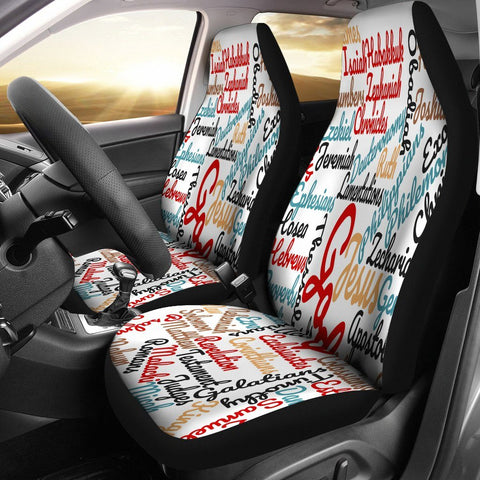 Custom-Made Holy Bible Books White Car Seat Cover