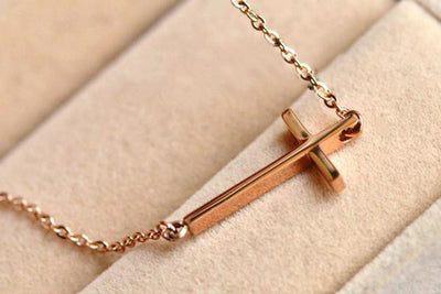 Horizontal Cross Necklace 14K Gold