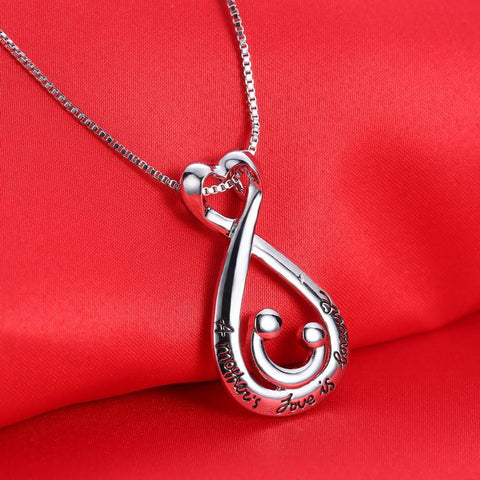 Lovely Moms Silver-Plated Heart Shaped Pendant Necklace