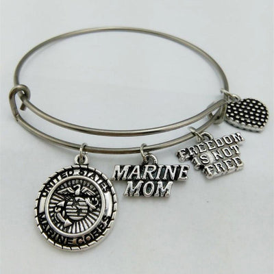 Marine Mom Charm Freedom Is Not Free Stainless Steel Bangle