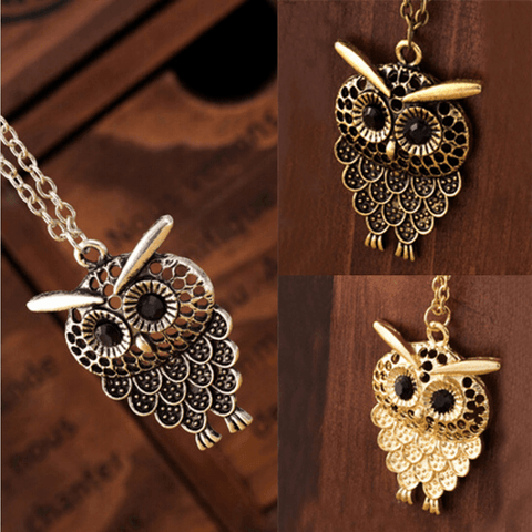 Vintage Women Owl Pendant Necklace