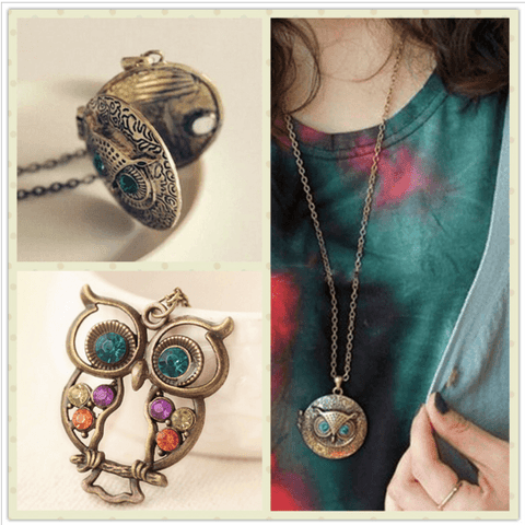 Vintage Crystal Charms Blue Eye Owl Pendant Sweater Necklace for women
