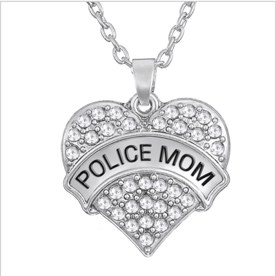 Police Mom Crystal Necklace