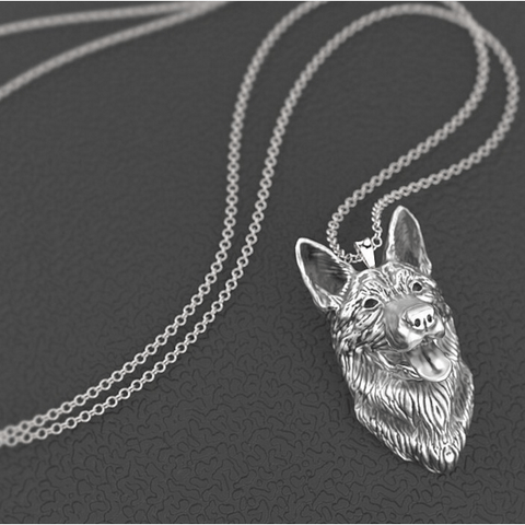 German Shepherd Dog Pendant Boho Chic Alloy Necklace
