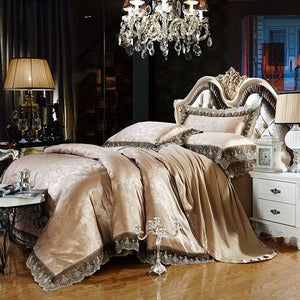 4/6 Pcs Luxury Silk Cotton Blend Queen King Size Duvet Cover Bedding Bed Linen Set