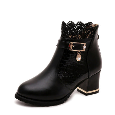 Warm Sexy Women High Heel Pointed Toe Buckle Black Lace Women Boots