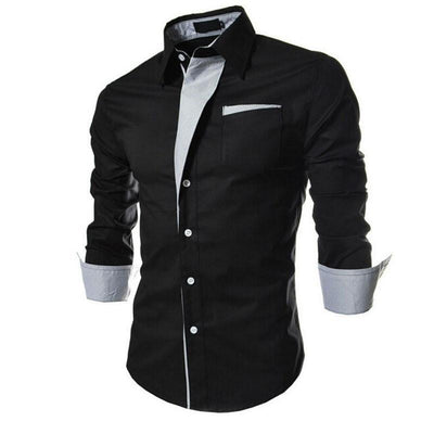 New Business Casual Long-Sleeved Slim Fit Men Shirt