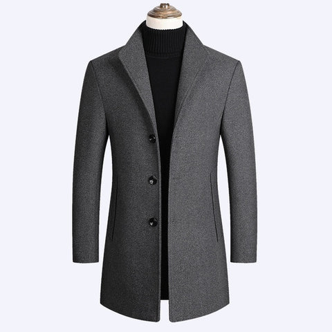 Nick's™ Brand Men High Quality Three Buttons Luxurious Wool Blends Long Coat
