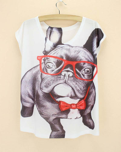 New Fashion Cool Cute Bulldog Cartoon Women T-Shirt