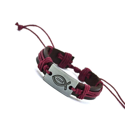 New Brand Fashion Vintage Genuine Leather I Love Jesus Rope Bracelet for Women & Men