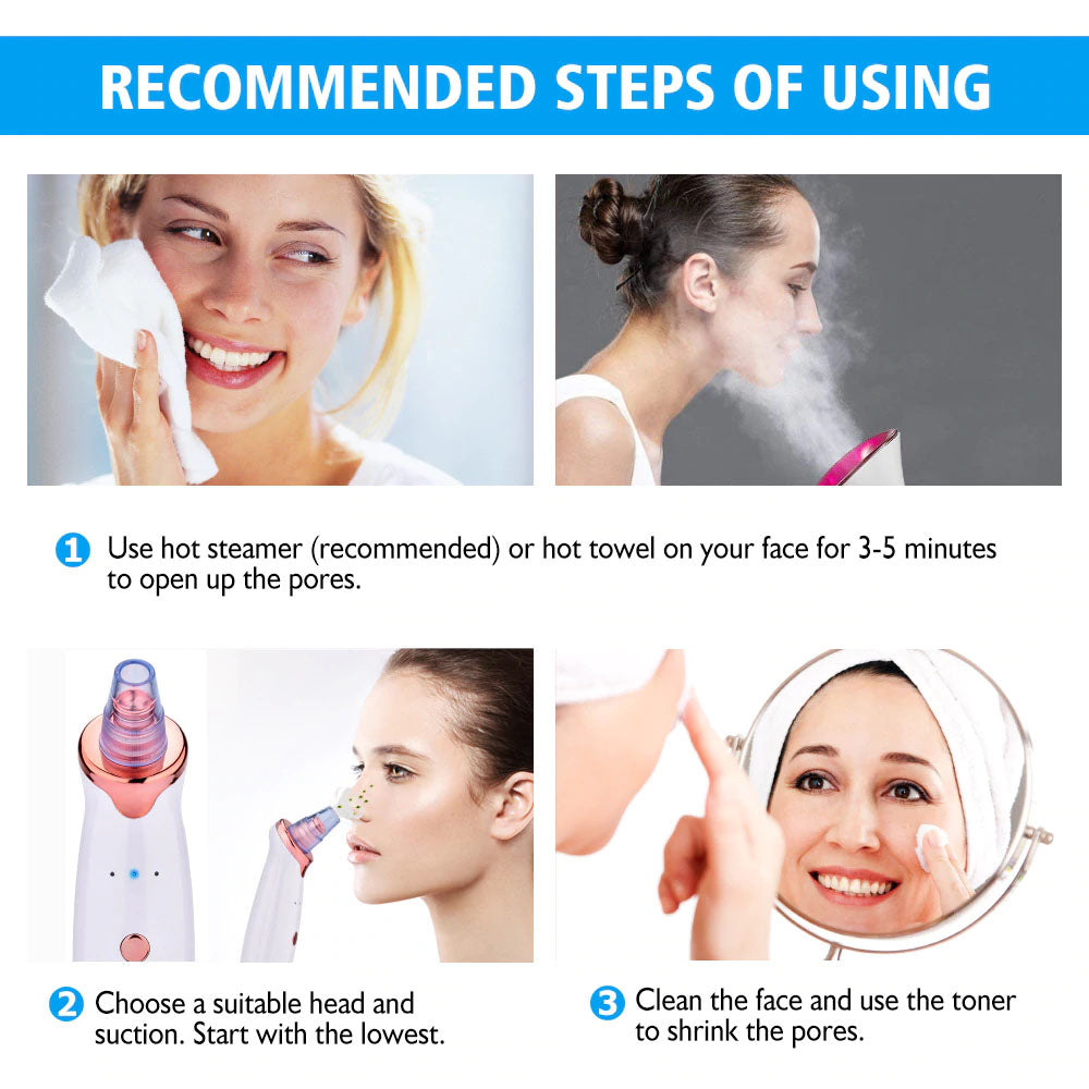 StuffXD.com Deep Pore Blackhead Vacuum Remover Recommended Steps Of Using