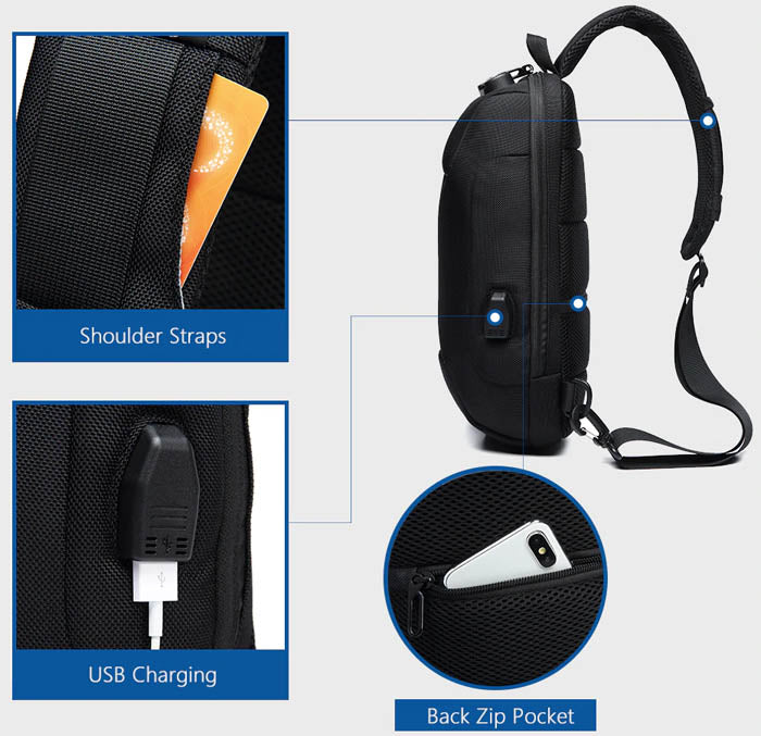 Anti-Theft Waterproof Chest Bag (USB)