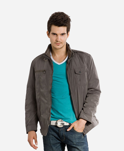Dual Colour V-Neck Full Sleeve Grey T-shirt