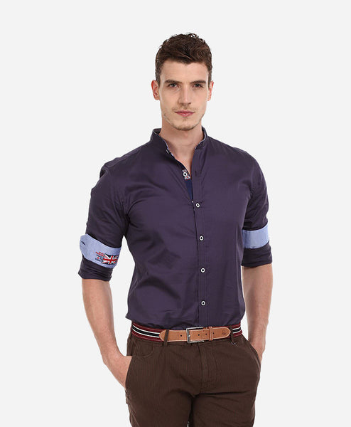 Men's Polo Collar Sea Blue T-shirt