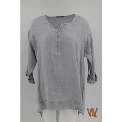 Wednesday Lulu - Linen top with Mandarin collar
