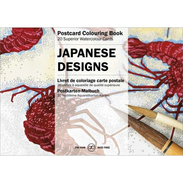 Postcard Colouring Book-Japanese Designs