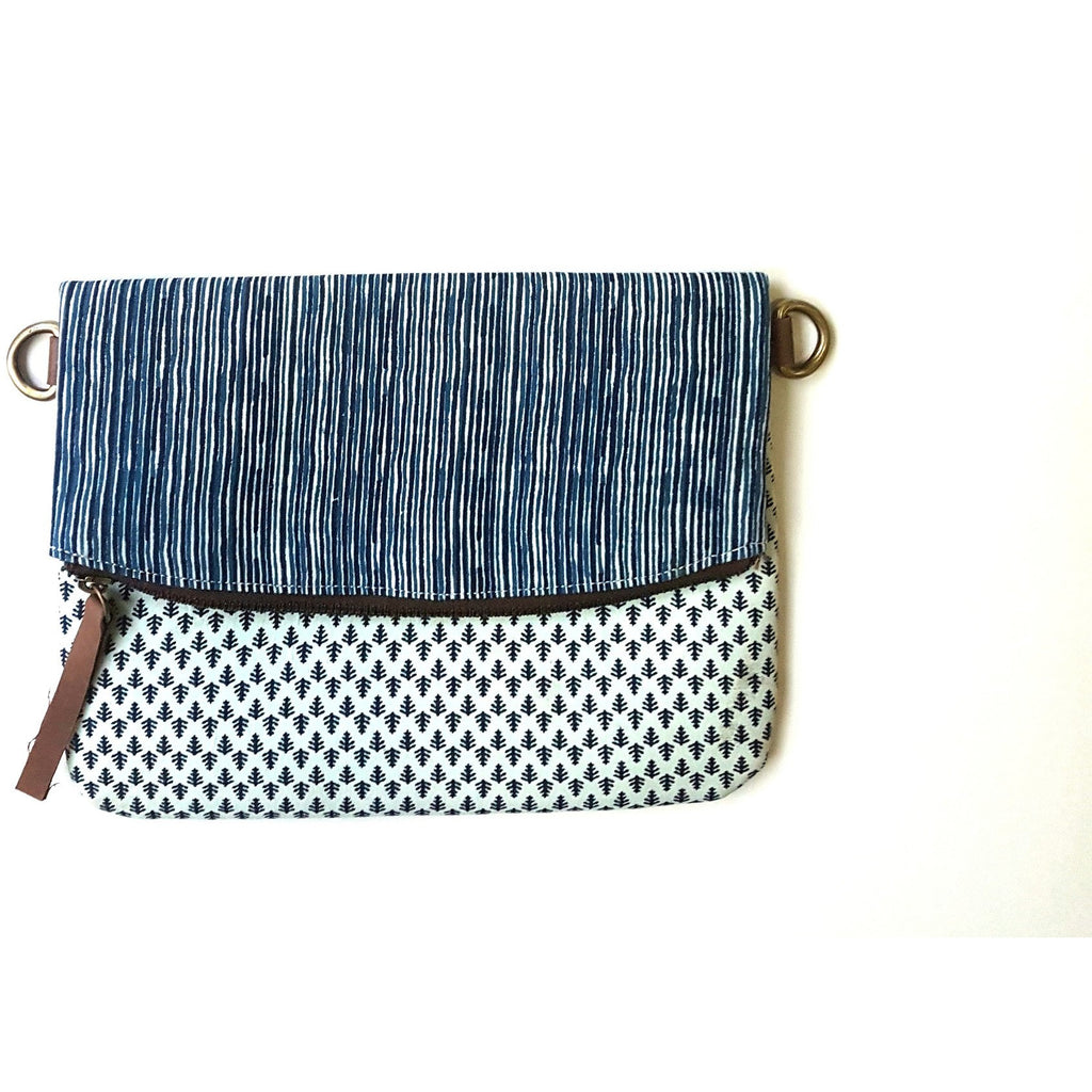 Fabric Indigo White Foldover Clutch