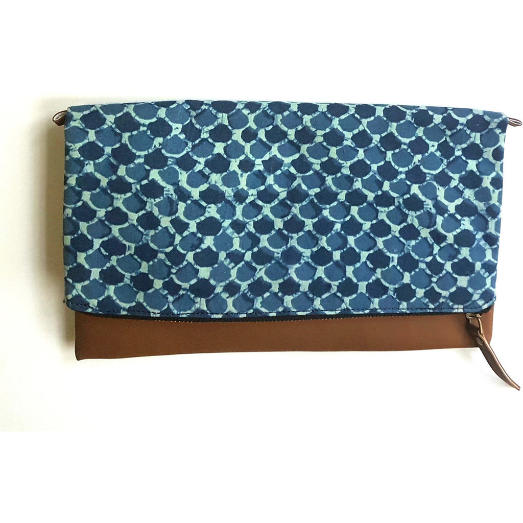 Faux Leather and Indigo Foldover Clutch