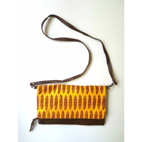 Faux Leather and Yellow Foldover Clutch