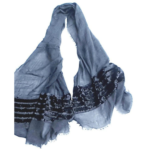 Grey Sequence Wool Lightweight Scarf