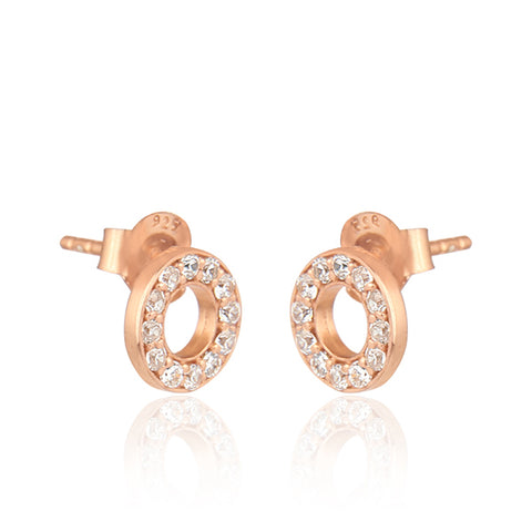 Classic Zarconia Sterling Silver Disc Earrings in Rose Gold