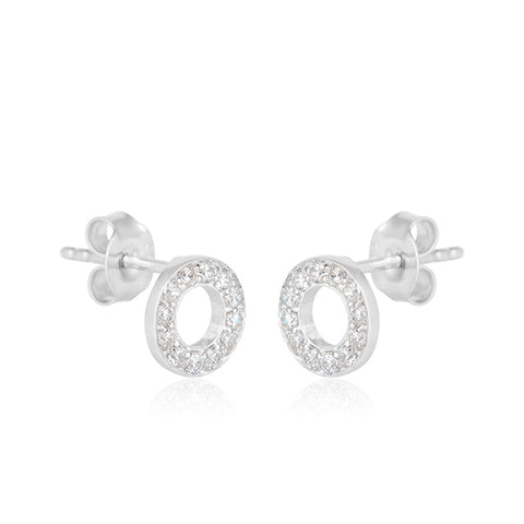 Classic Zarconia Sterling Silver Disc Earrings in White Gold