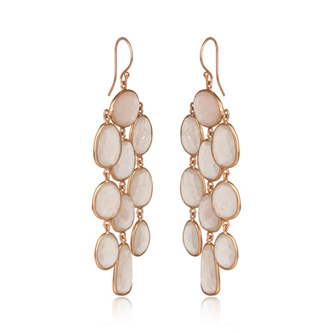 Chandelier Earring in Rose Gold on Silver with Rose Quartz