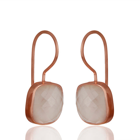 Rose Quartz Drop Earring in Rose Gold