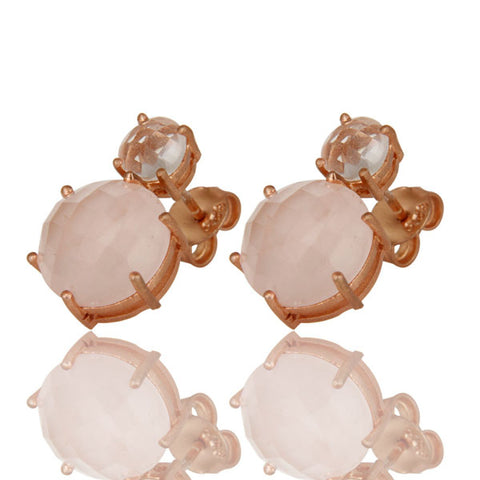 18K Rose Gold Plated Round Crystal Quartz And Rose Quartz Stud Earring