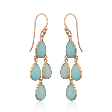 Aqua Chalcedony Pear shaped Chandelier Earrings in Rose gold finish