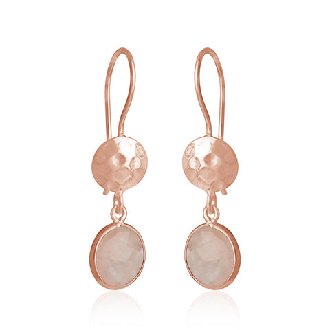 Disc and Drop Rose Quartz Earrings in Rose Gold Finish