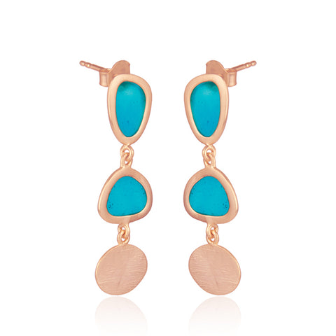 Handcrafted Rose Gold Vermeil Blue Enamel Organic Shape Drop Earrings