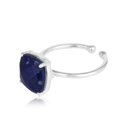 Silver Lapis Prong Solitaire Ring