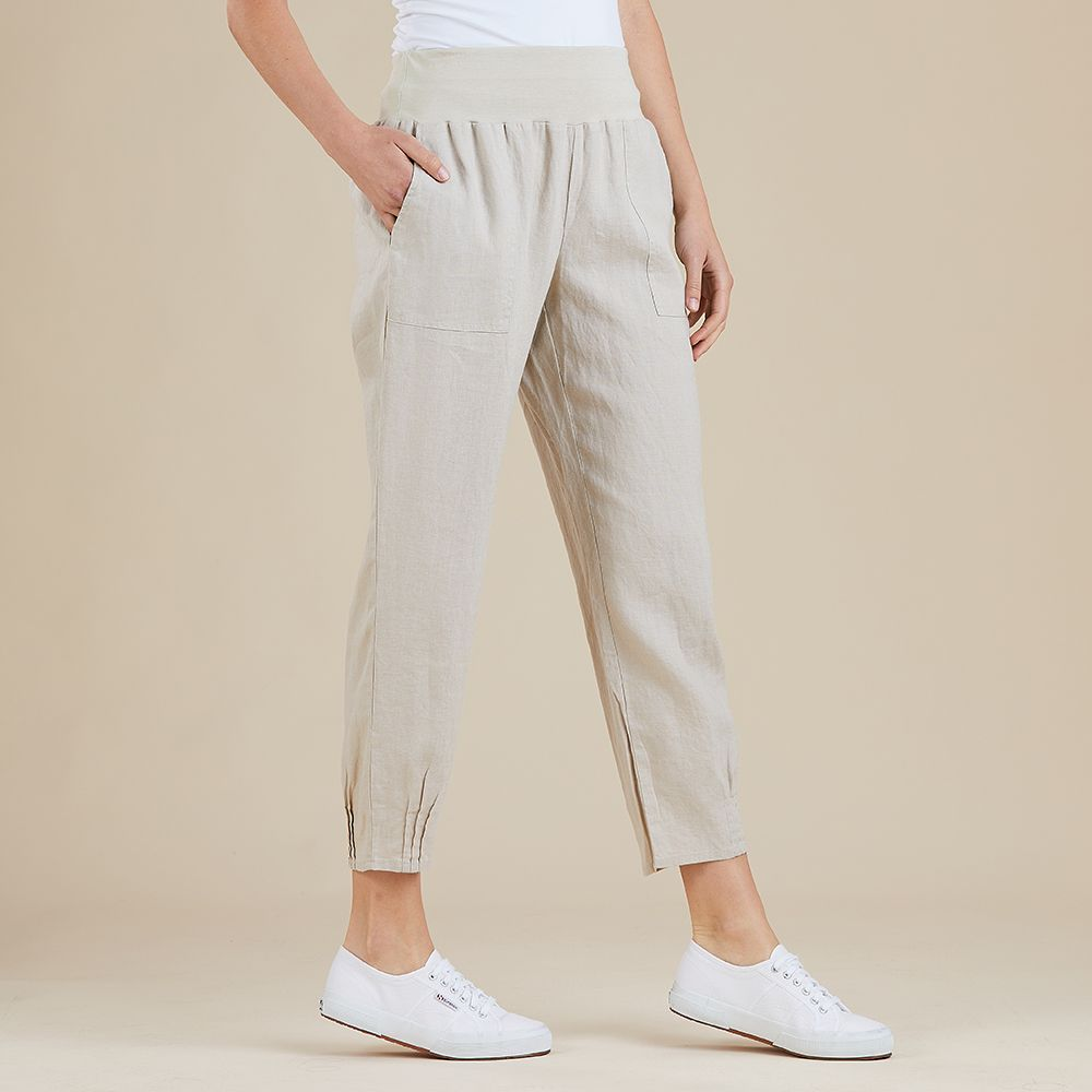 Gordon Smith Jersey Waist Linen Pant