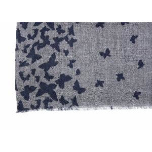 Butterfly Blue Wool Lightweight Scarf