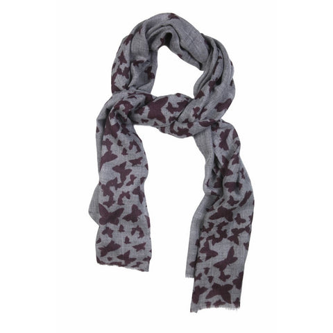 Butterfly Burgundy Wool Lightweight Scarf  - Melange Chic - 1