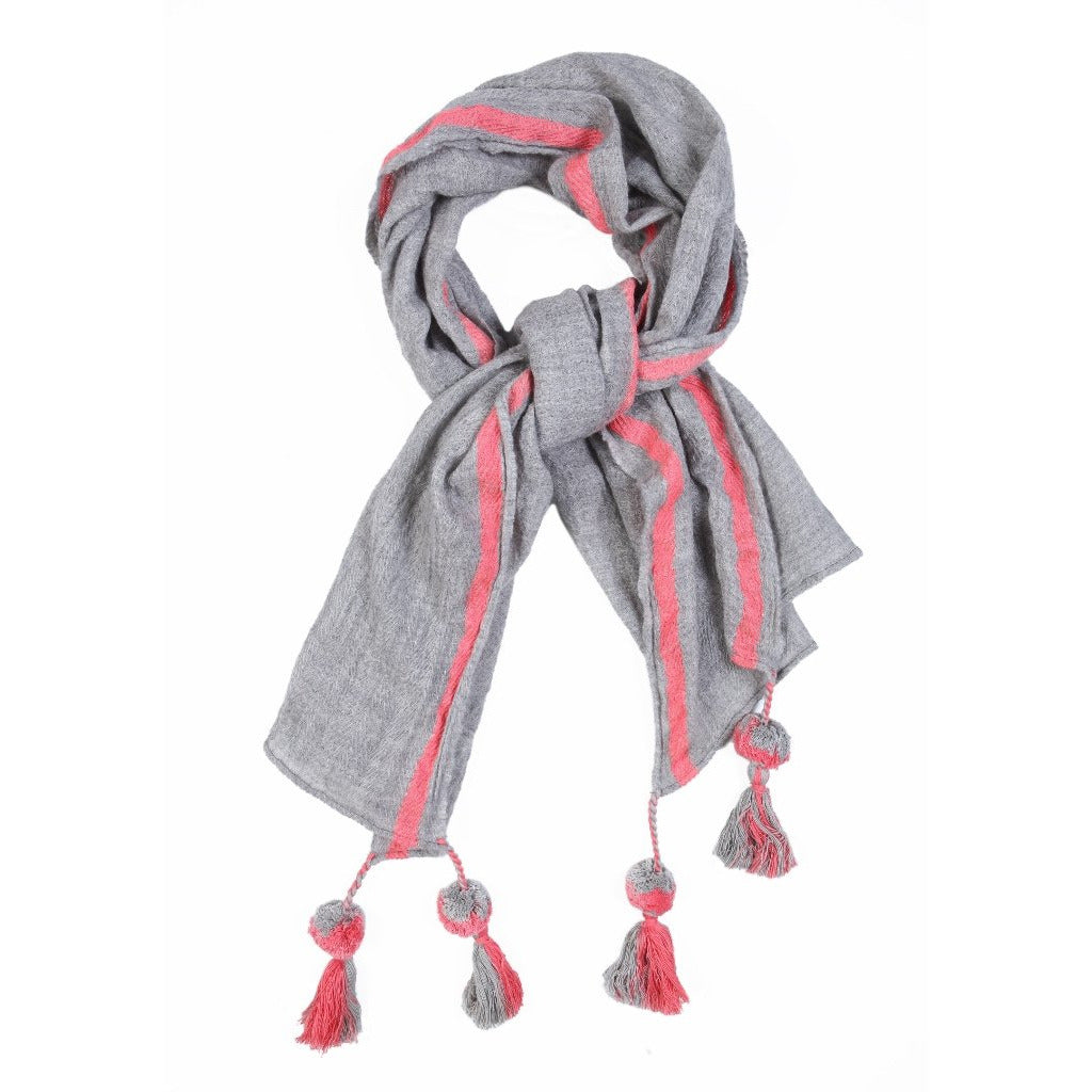 Grey and Peach Wool Lightweight Scarf