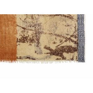 Brown and Beige Wool Lightweight Scarf