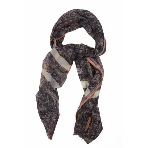 Timeless Paisley Pattern Lightweight Wool  Scarf