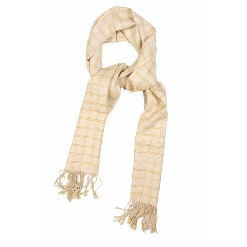 Cream and Gold Checkered Eri Silk Scarf  - Melange Chic - 1