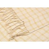 Cream and Gold Checkered Eri Silk Scarf  - Melange Chic - 2