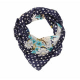 Polka Dot Flower Silk Lightweight Scarf  - Melange Chic - 1