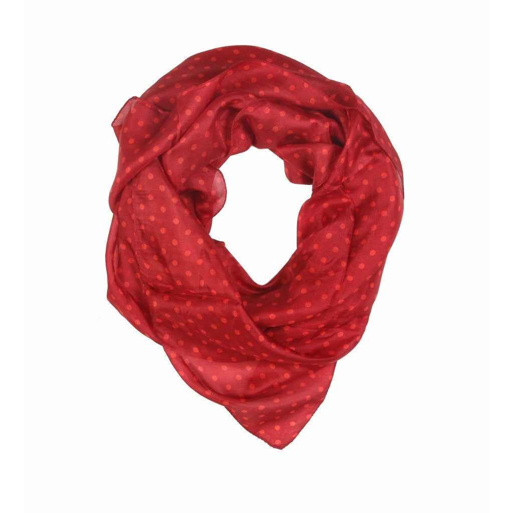 Red Polka Dot Silk Lightweight Scarf  - Melange Chic - 1