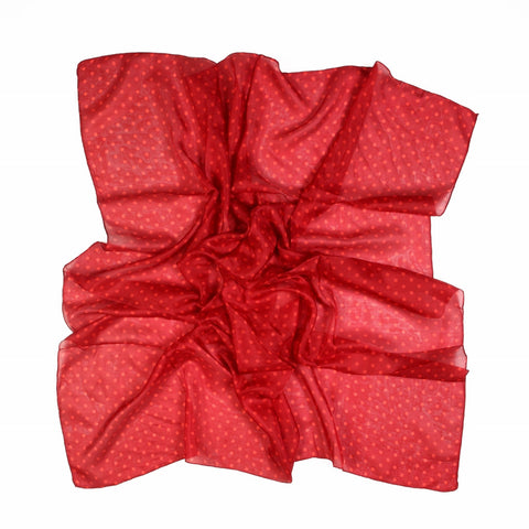 Red Polka Dot Silk Lightweight Scarf  - Melange Chic - 2