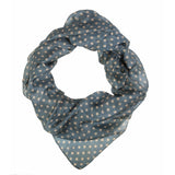 Grey Blue Polka Dot Silk Lightweight Scarf  - Melange Chic - 1