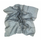 Grey Blue Polka Dot Silk Lightweight Scarf  - Melange Chic - 2