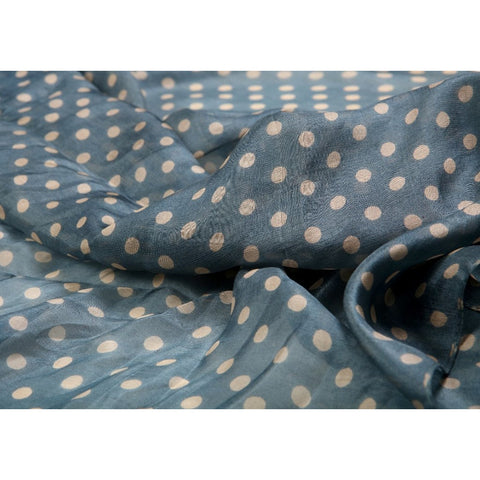 Grey Blue Polka Dot Silk Lightweight Scarf  - Melange Chic - 3