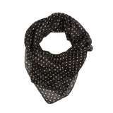 Black Polka Dot Silk Lightweight Scarf  - Melange Chic - 1